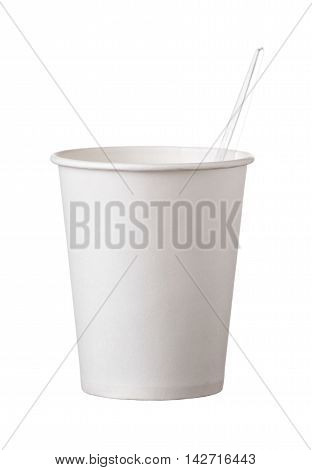 Cardboard Disposable Cup With  Transparent Spoon Isolated On White Background