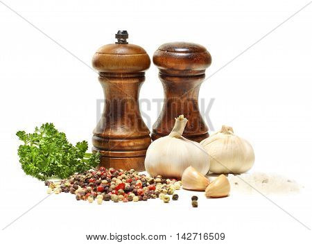 Salt and pepper shaker garlic parsley isolated