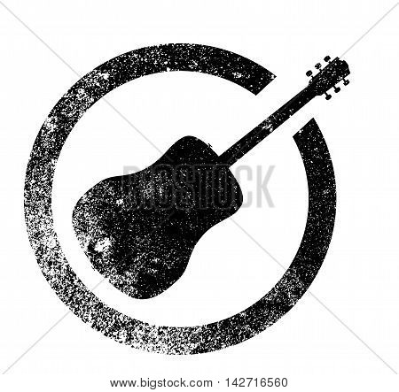 Acoustic guitar as as rubber ink stamp in black isolated over a white background.