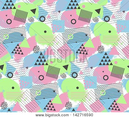 Seamles pattern in memphis style with geometric design elements, triangles and circles. For texture of fabric. Vector endless background.
