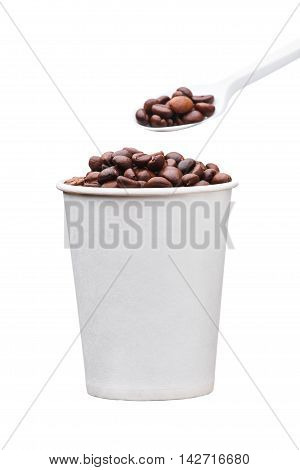 Cardboard Disposable Cup With Coffee And Spoon On White Background