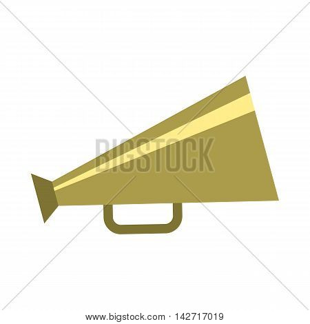 Retro metallic megaphone icon in flat style on a white background