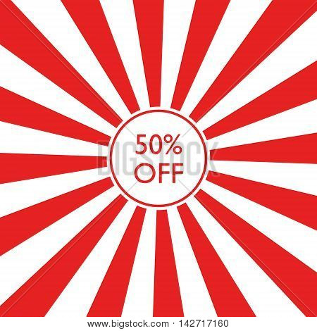 Retro red fifty percent off badge on striped background.
