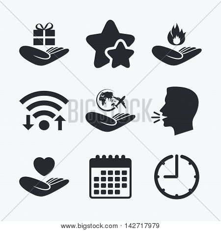 Helping hands icons. Health and travel trip insurance symbols. Gift present box sign. Fire protection. Wifi internet, favorite stars, calendar and clock. Talking head. Vector