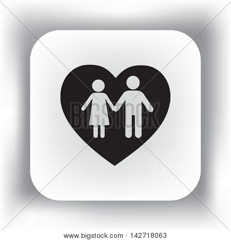 Flat icon family. Love between husband and wife.