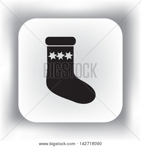 Flat icon. Sock for gifts.