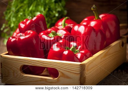 Fresh Red Sweet Peppers.