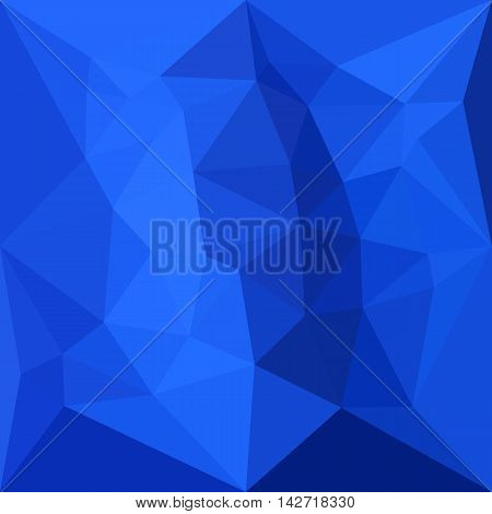 Low polygon style illustration of a bright navy blue abstract geometric background.