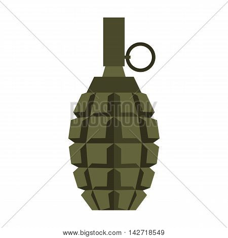 Hand grenade icon in flat style on a white background