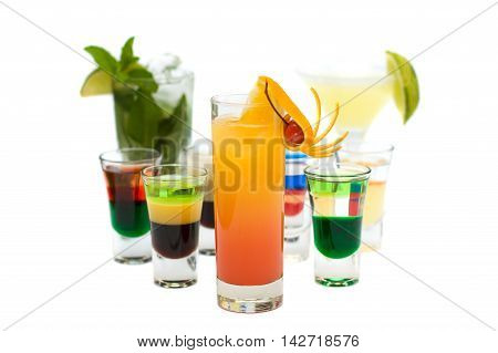 Tequila Sunrise Cocktail on blurred Cocktails Collection background
