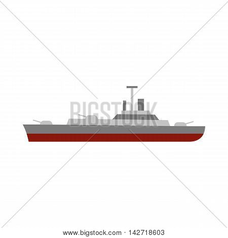 Military navy ship icon in flat style on a white background