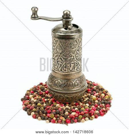 peppermill and spices isolated on white background