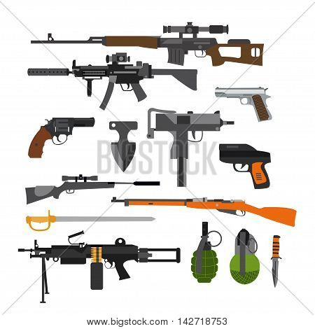 Vector set of army combat weapons. Icons isolated on white background. Gun, rifles, grenade.