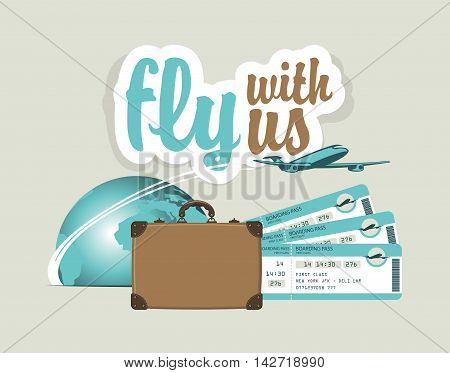 vector banner for air travel with an airplane planet suitcase and plane tickets