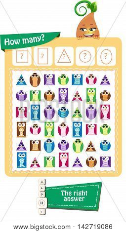 Visual Game for children. Task: How many? Geometric shapes in the form of an owl