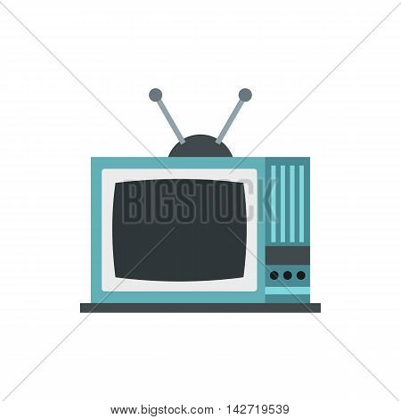 Retro TV icon in flat style on a white background