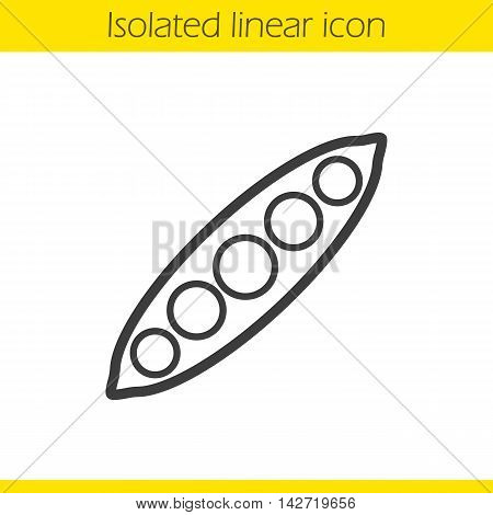 Peapod linear icon. Thin line illustration. Open peapod contour symbol. Vector isolated outline drawing