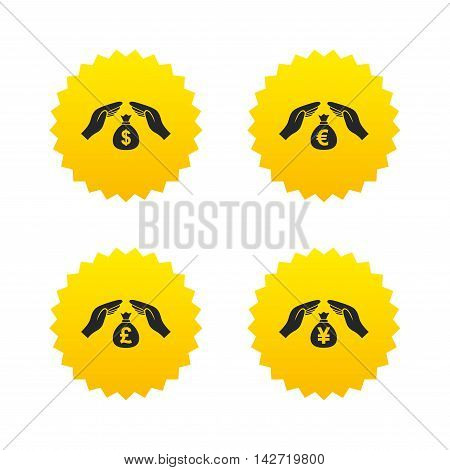 Hands insurance icons. Money bag savings insurance symbols. Hands protect cash. Currency in dollars, yen, pounds and euro signs. Yellow stars labels with flat icons. Vector