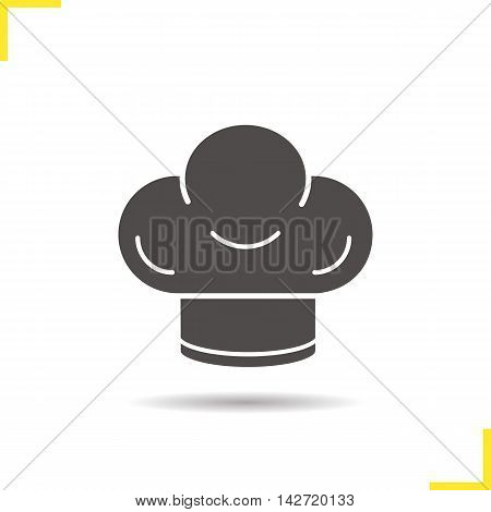 Chef's hat icon. Drop shadow silhouette symbol. Toque vector isolated illustration
