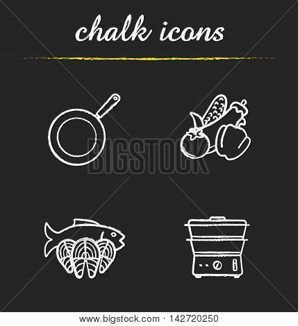 Steam cooking icons set. Frying pan, vegetables, fish fillet slices and steam cooker illustrations. Healthy diet food. Isolated vector chalkboard drawings