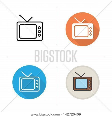 TV set icon. Flat design, linear and color styles. Television. Isolated vector illustrations