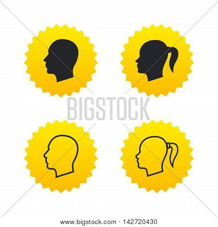 Head icons. Male and female human symbols. Woman with pigtail signs. Yellow stars labels with flat icons. Vector