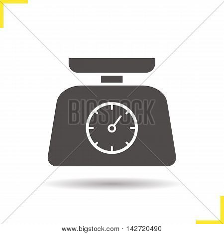 Kitchen food scales icon. Drop shadow silhouette symbol. Negative space. Vector isolated illustration