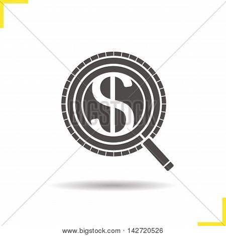 Investors search icon. Drop shadow silhouette symbol. Market analysis. Business analytics. Negative space. Vector isolated illustration