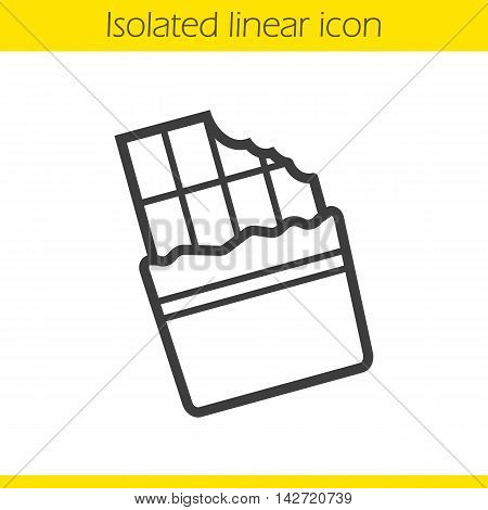Bitten chocolate bar linear icon. Thin line illustration. Contour symbol. Vector isolated outline drawing