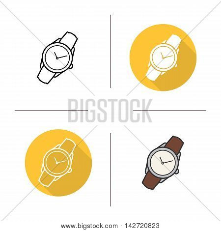 Wristwatch icon. Flat design, linear and color styles. Classic men's watch. Isolated vector illustrations
