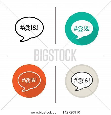 Dirty language icon. Flat design, linear and color styles. Chat bubble with censored swearing words. Cursing. Isolated vector illustrations