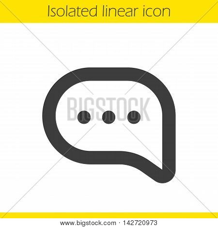 Chat bubble linear icon. Message bubble with typing dots thin line illustration. Online chat contour symbol. Vector isolated outline drawing