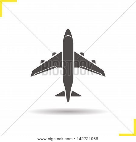 Plane icon. Drop shadow silhouette symbol. Airplane flight. Negative space. Vector isolated illustration