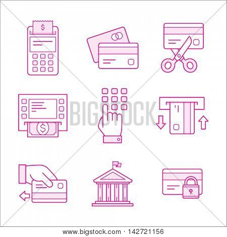 Financial security icons. Linear style collection.