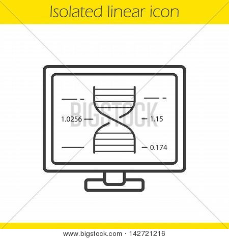 Laboratory computer linear icon. Dna strand on display. Thin line illustration. Science lab research. Contour symbol. Vector isolated outline drawing