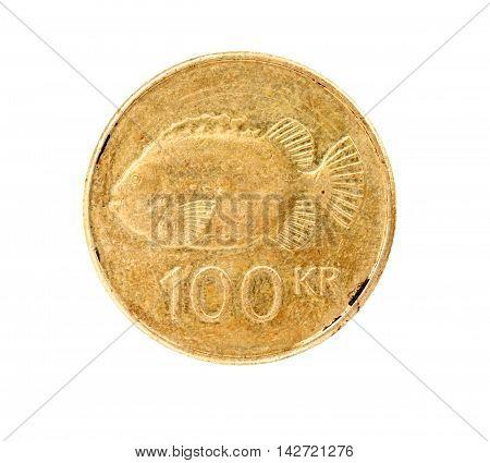 100 icelandic krona coin isolated on white background
