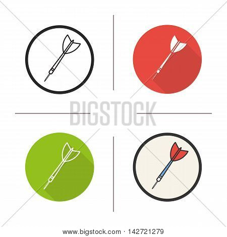 Darts icon. Flat design, linear and color styles. Dart arrow. Isolated vector illustrations