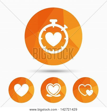 Heart ribbon icon. Timer stopwatch symbol. Love and Heartbeat palpitation signs. Triangular low poly buttons with shadow. Vector