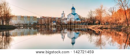 St. Alexander Nevsky Church in Gomel Homiel Belarus. Panorama With Orthodox Church At Sunset Or Sunrise