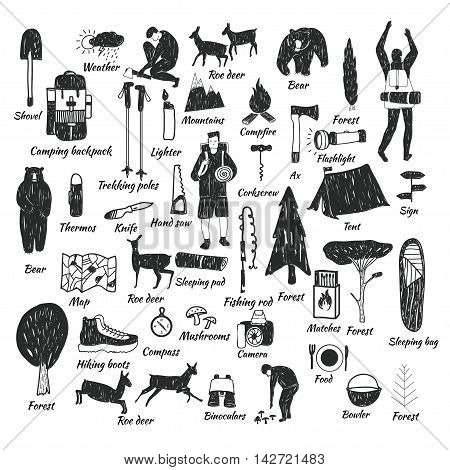 Vector hand drawn cartoon seamless camping icons. Picnic travel and camping theme. Black and white camping icons. Textile paper polygraphy game web design