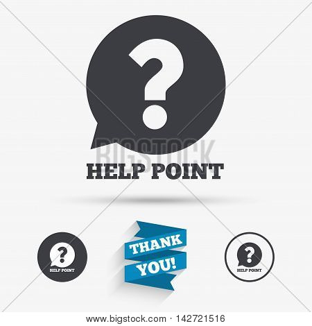 Help point sign icon. Question symbol. Flat icons. Buttons with icons. Thank you ribbon. Vector