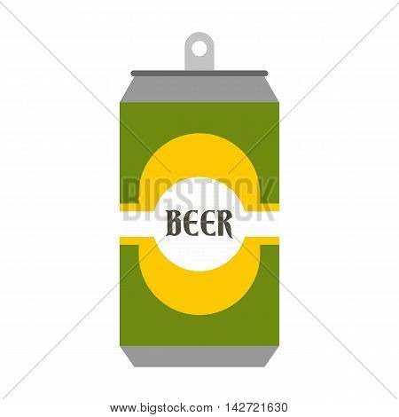 Beer can with beer label icon in flat style isolated on white background