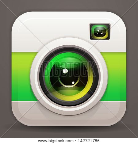 Photo camera icon, vector shiny lens. Green reflex