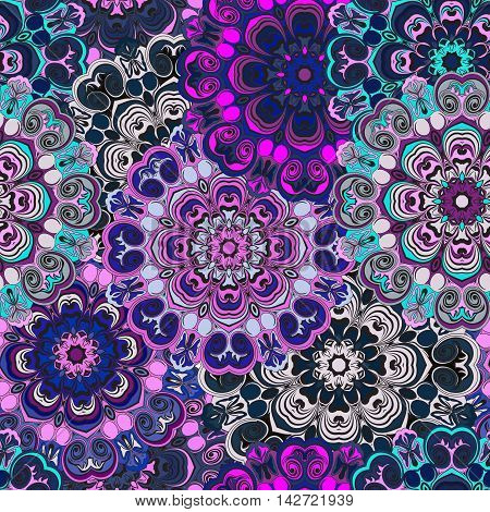 Violet colored seamless pattern with eastern floral ornament. Floral oriental design in aztec turkish pakistan indian chinese japanese style. Wrapping paper or front-side vector art