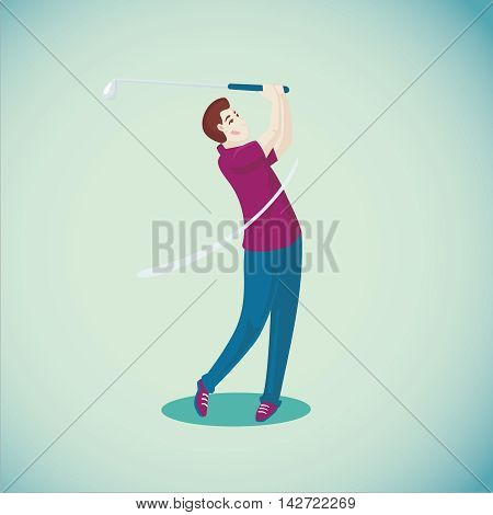 Golf player is hitting a ball. Isolated cartoon illustration