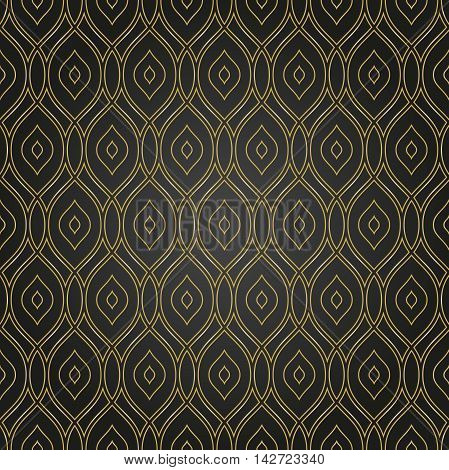 Seamless golden pattern. Modern geometric pattern with repeating wavy lines