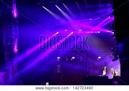 Stage Lights At A Live Edm Concert