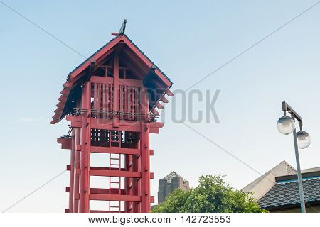 Los Angeles, USA - August 8, 2016 : Little Tokyo watchtower at Little Tokyo Historic District., famous attraction place for traveler enjoying Japanese culture and food in Los Angeles.