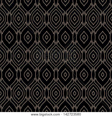 Seamless golden ornament. Modern geometric pattern with repeating elements
