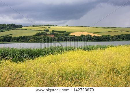 storm clouds over Slapton Ley in Devon